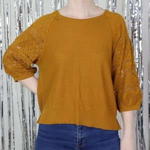 Anthropologie Mustard Boho Cropped Sleeve Sweater